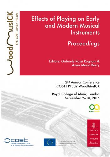 Cover for Making wooden musical instruments: An integration of different forms of knowledge (3rd Annual Conference COST FP1302 WoodMusICK - Barcelona)