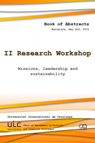 Cover for 2nd Research Workshop: Missions, leadership and sustainability (UIC 2016 - Barcelona)