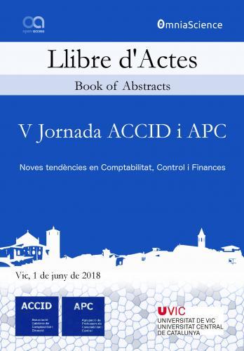 Cover for V Jornada ACCID i APC: Noves tendències en Comptabilitat, Control i Finances